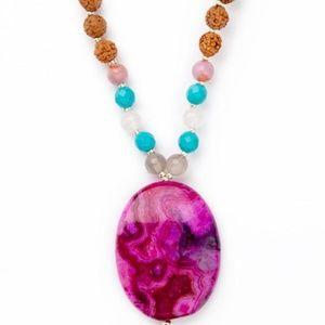 Shakti Mala 108 Rudraksha with Pink Jade Mala Bead